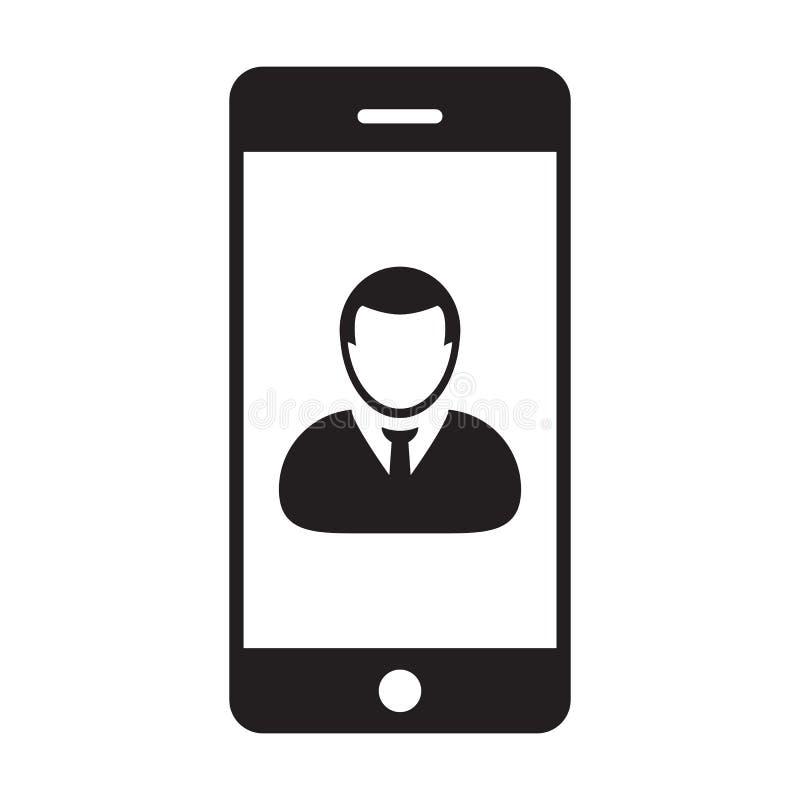 有智能手机标志的流动应用程序象传染媒介男性收养外形具体化在纵的沟纹图表的通信的 库存例证