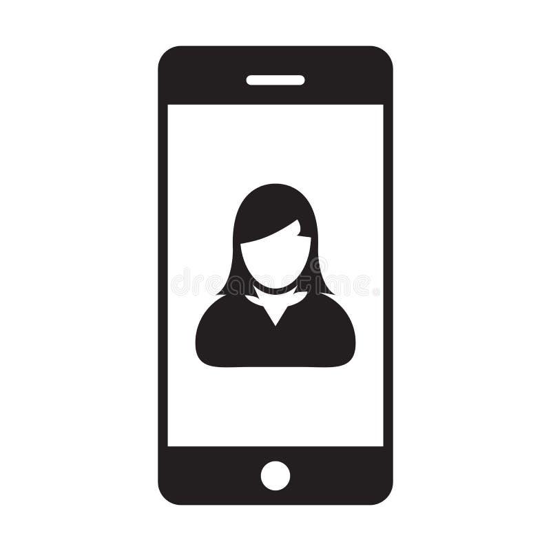 有智能手机标志的流动用户象传染媒介女性外形具体化在纵的沟纹图表的通信的 皇族释放例证