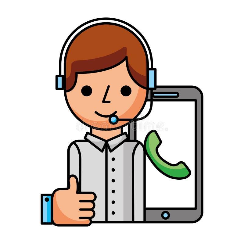 有智能手机热线服务电话的电话中心男孩象 向量例证