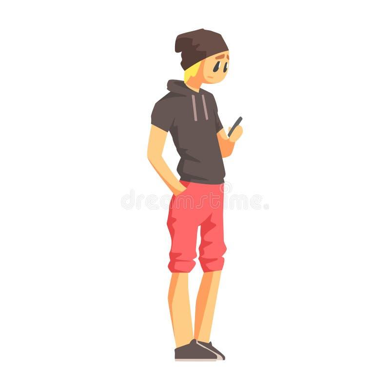 有智能手机的人在短袖子有冠乌鸦,年轻人街道与大规模市场衣裳的时尚神色 向量例证