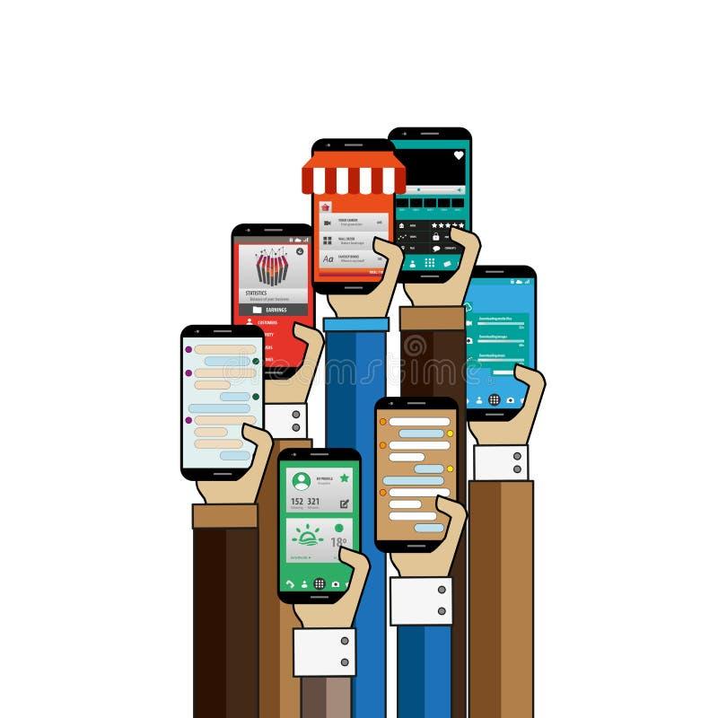 有智能手机的人手使用在网上买的apps 库存例证