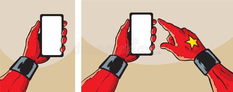 有智能手机的特级英雄 向量例证