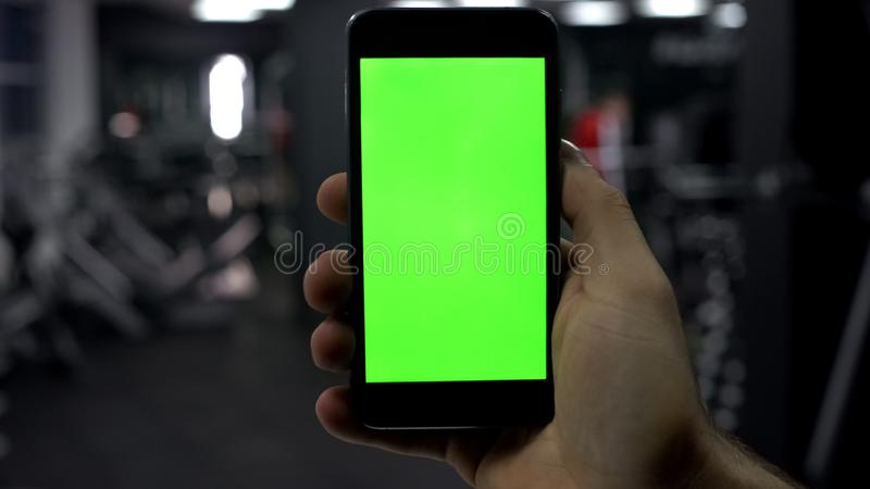 有智能手机的男性手在健身房,健身应用发生,绿色屏幕 免版税库存图片