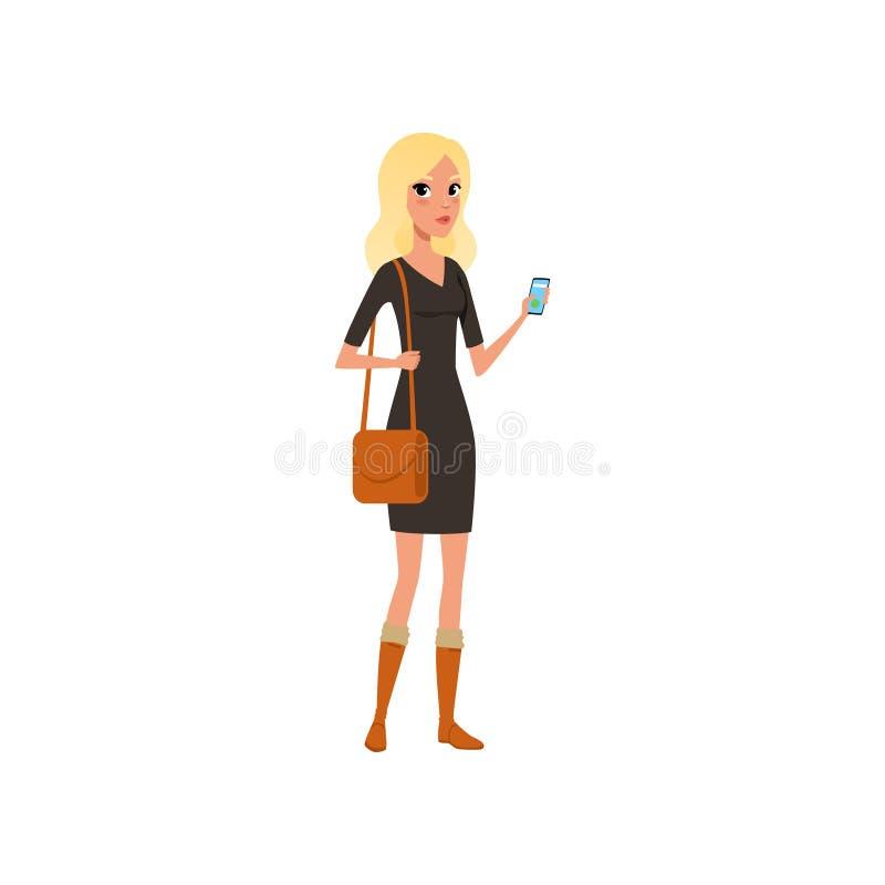 有智能手机的美丽的白种人妇女在手中 穿黑礼服,棕色起动的动画片白肤金发的女孩字符和 库存例证