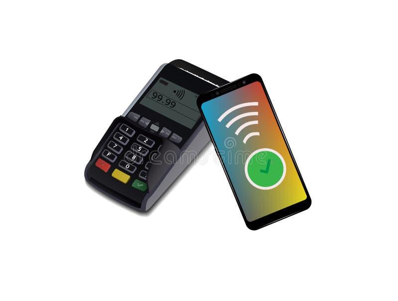 有智能手机的POS终端,不接触的付款 近领域通信协议 适应图标 Wifi流动薪水 向量例证