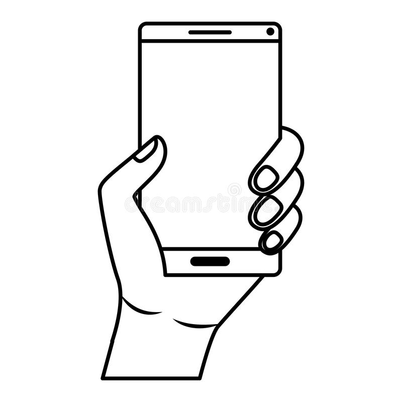 有智能手机设备的手 向量例证