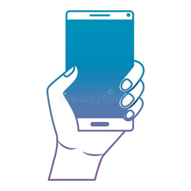 有智能手机设备的手 库存例证