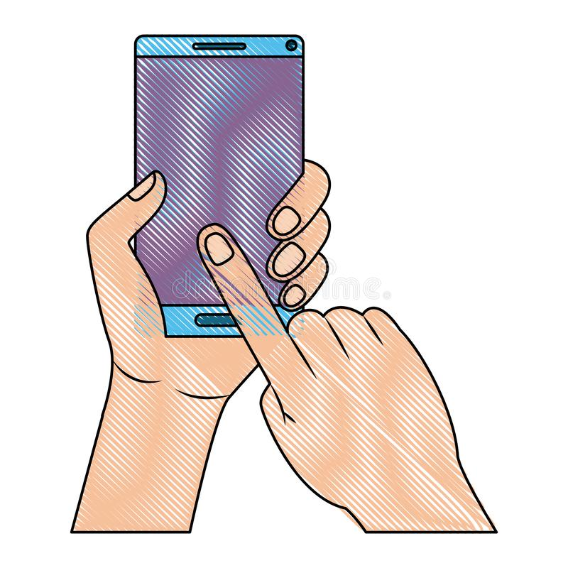 有智能手机设备的手 皇族释放例证
