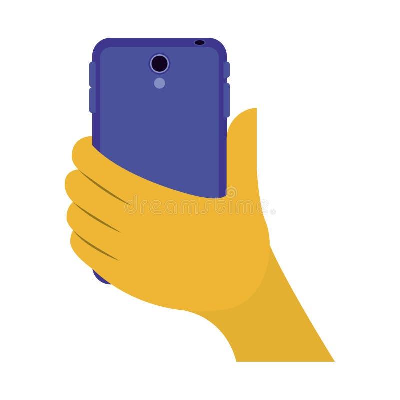 有智能手机象的手 向量例证