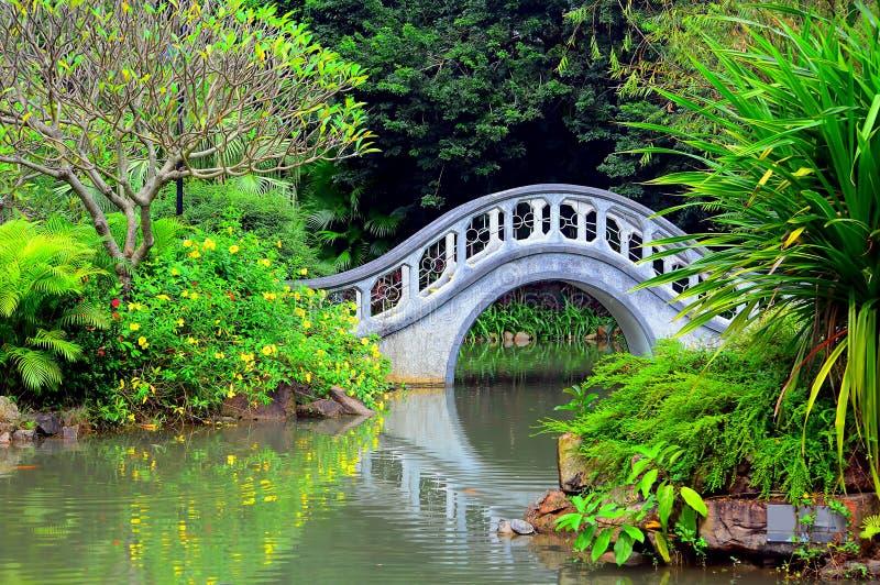 有曲拱形状桥梁的禅宗庭院 免版税库存照片