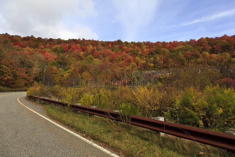 有曲线的被铺的路在山 库存照片