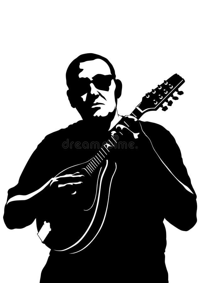 有曼陀林的一音乐家 库存例证