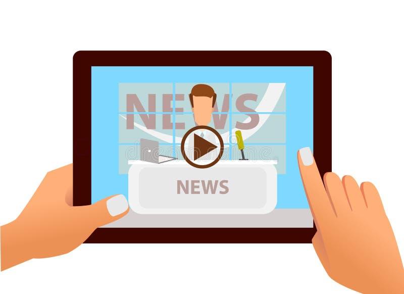 有最新新闻网上录影的片剂在屏幕上的在手上 向量 库存例证