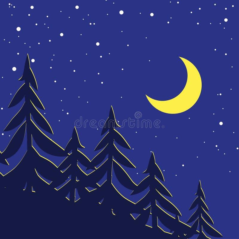有月亮和星的夜森林 皇族释放例证
