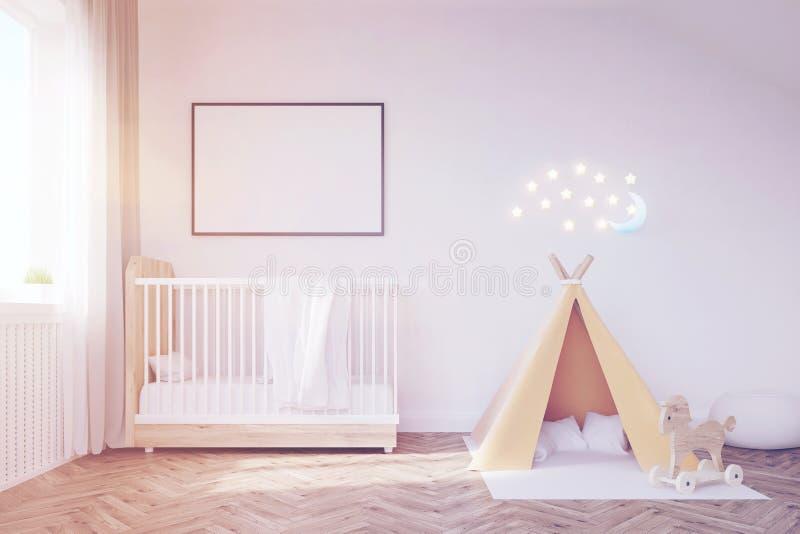 有月亮的婴孩室,被定调子 向量例证