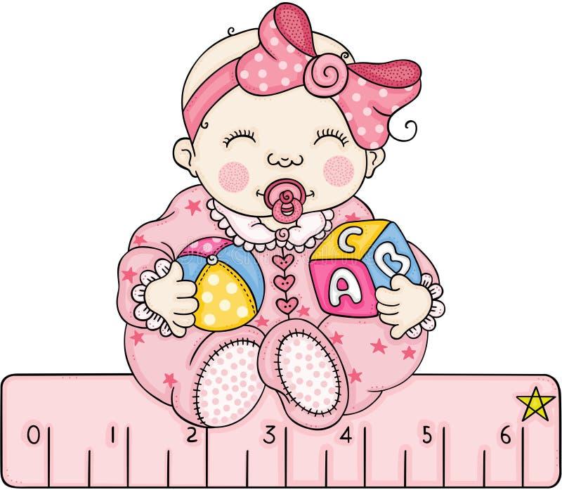 有有一个桃红色统治者的女婴 向量例证