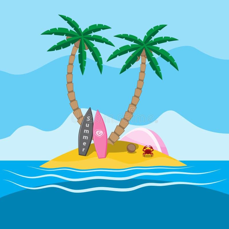 有有两冲浪和帐篷的棕榈树的海海岛,螃蟹沙子夏天 o 皇族释放例证