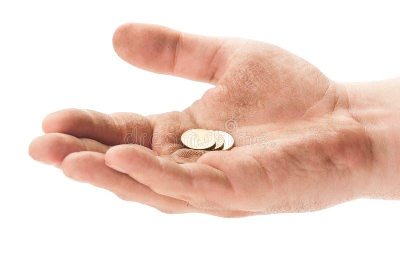 有有些硬币的叫化子手 库存图片