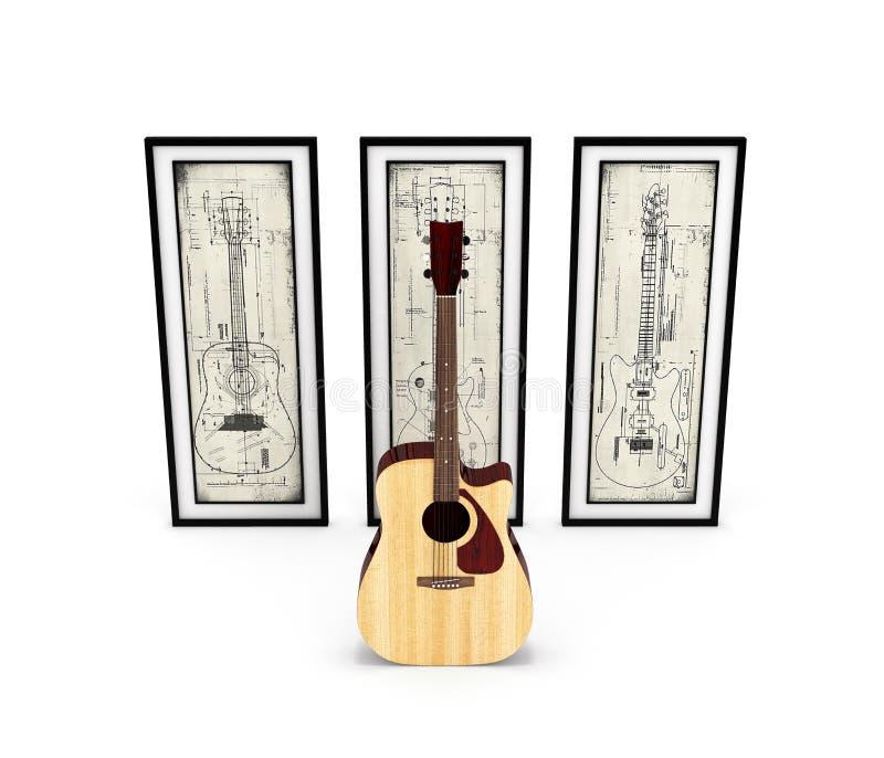 有有吉他图片的声学吉他在白色背景3d 皇族释放例证