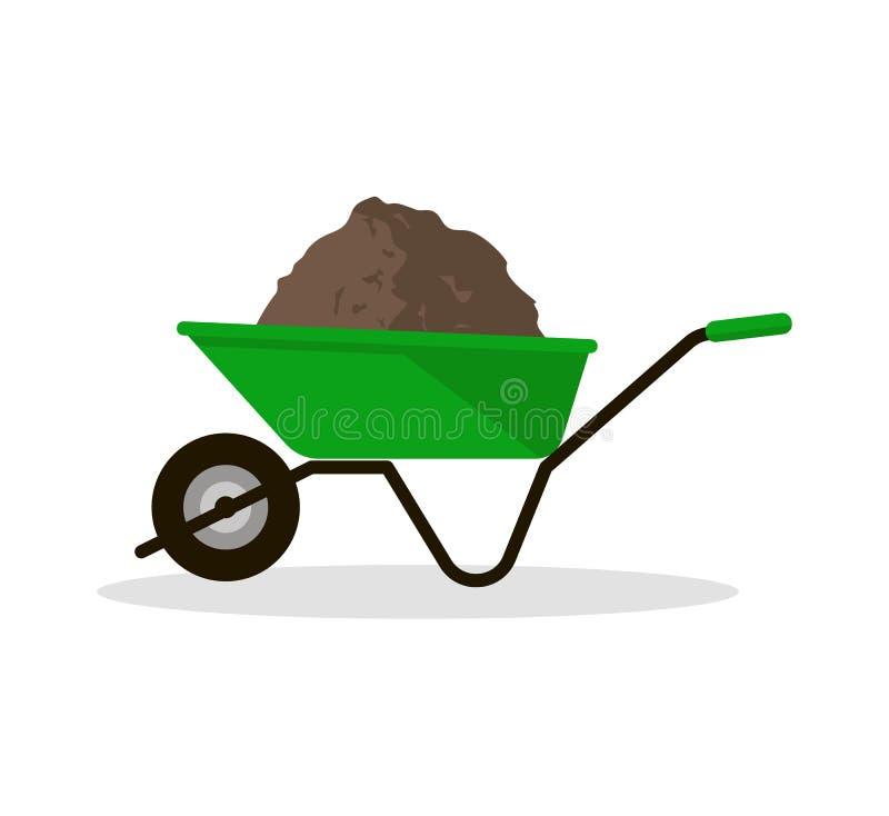 有有机肥料的独轮车 向量例证