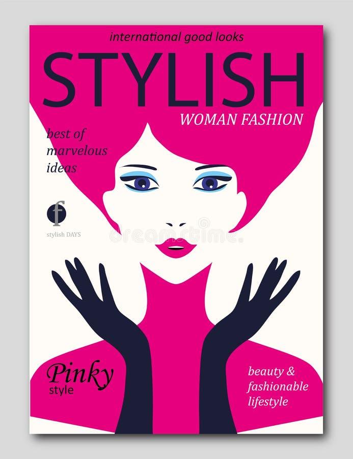有有桃红色头发的抽象妇女和在流行艺术样式的黑暗的手套 时装杂志盖子设计 皇族释放例证