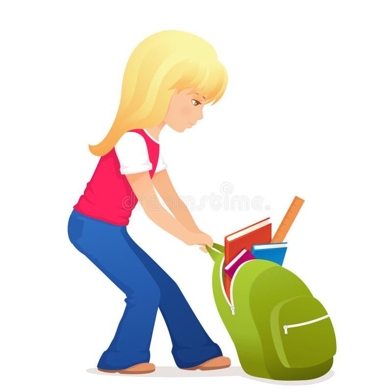 有有点重的书包的女孩 库存例证