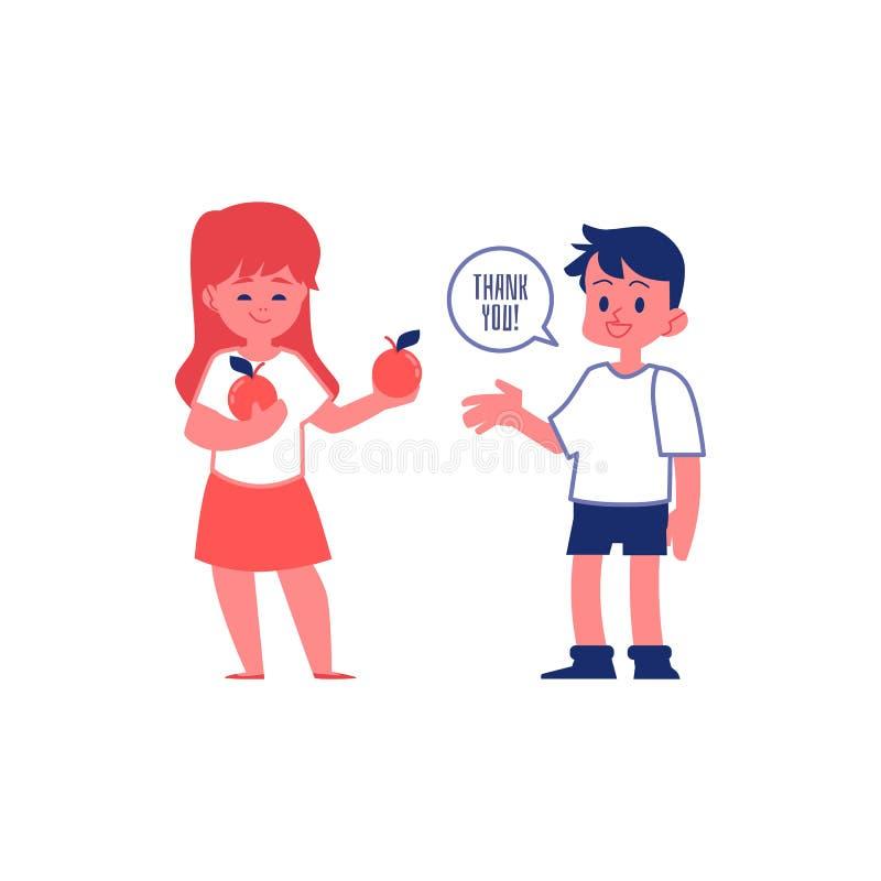 有有礼貌的礼貌的男孩感谢朋友传染媒介例证的隔绝了 向量例证