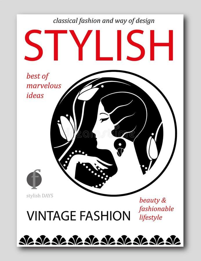 有有花艺术装饰样式的抽象妇女 时装杂志盖子设计 库存例证
