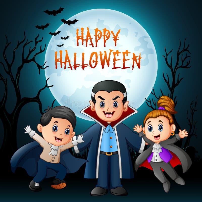 有服装的滑稽的动画片吸血鬼在夜背景 向量例证