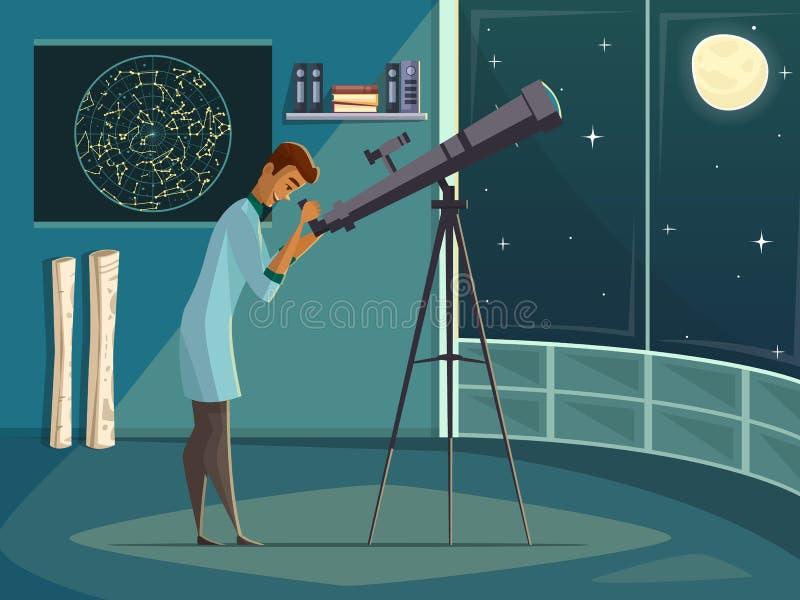 有望远镜减速火箭的动画片海报的天文学家 库存例证