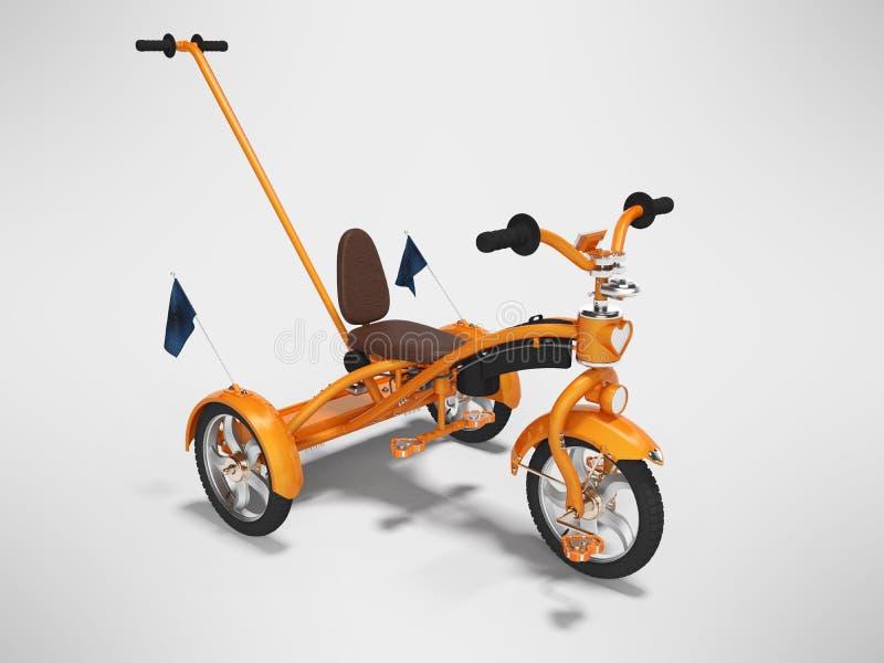 有望远镜把柄的橙色儿童的自行车父母的3d回报在与阴影的灰色背景 向量例证