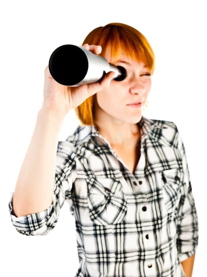 有望远镜的妇女 库存照片