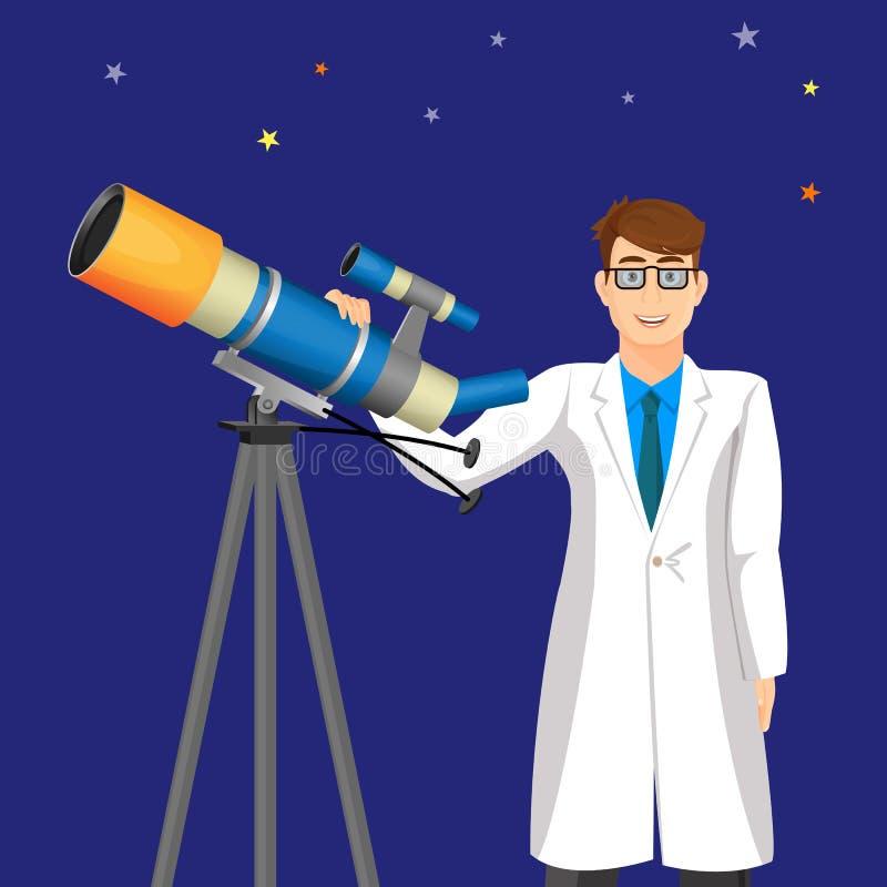 有望远镜的科学家人在宇宙天空传染媒介背景  向量例证