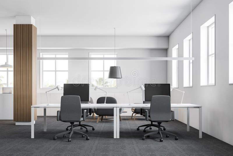 有木专栏的现代办公室工作场所 向量例证