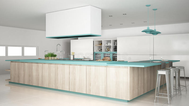 有木和绿松石细节的, mi Minimalistic白色厨房 免版税库存图片