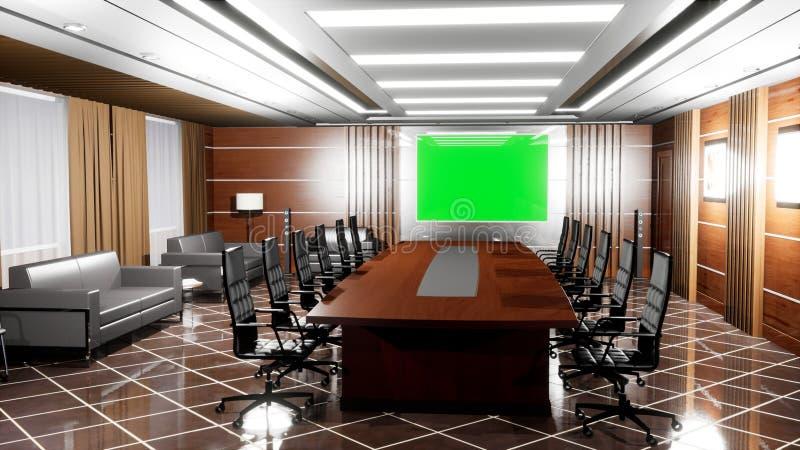 有木地板、书桌、扶手椅子和电视盘区的高级现代空的办公室与绿色屏幕 3d?? 向量例证