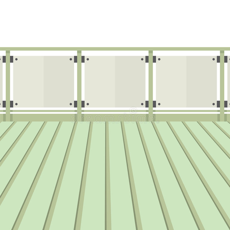 有木地板的木阳台 向量例证