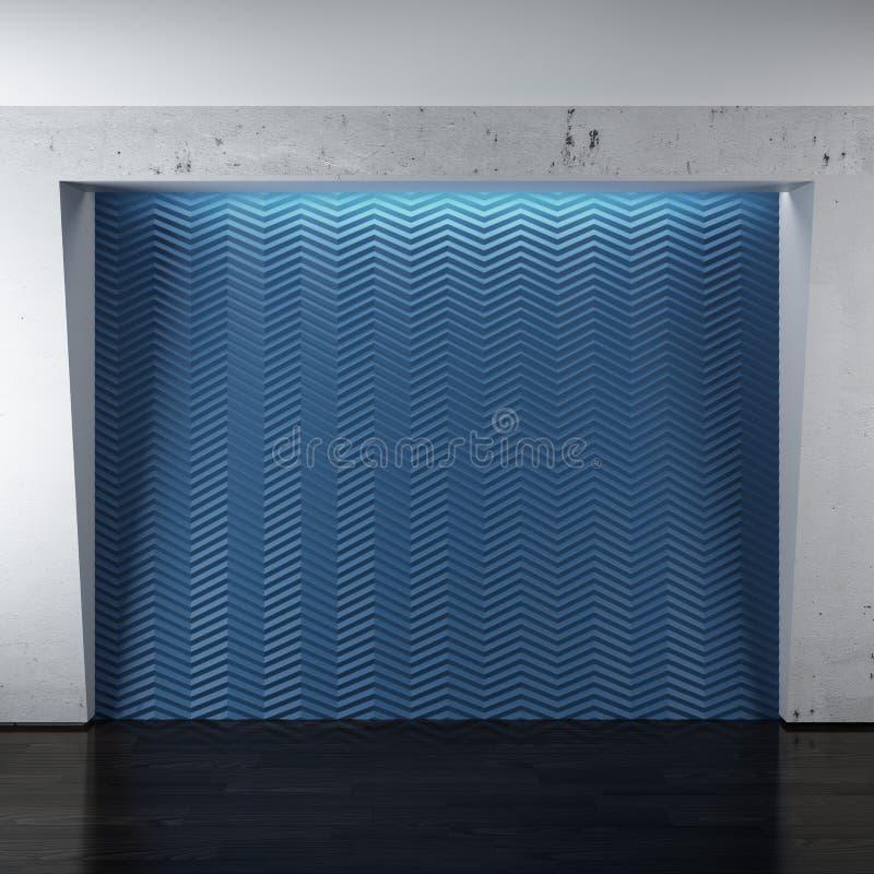 有木地板的蓝色室 库存例证