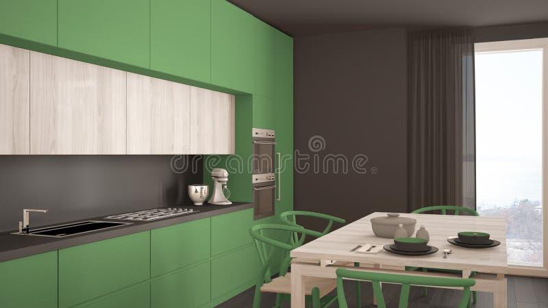有木地板的,经典内部现代最小的绿色厨房 库存照片