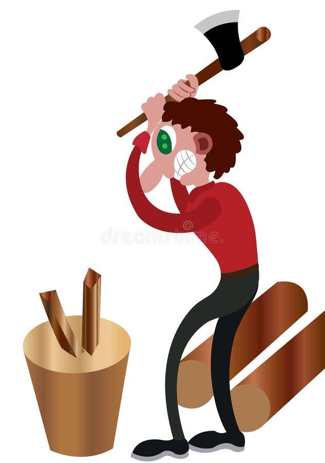 有木头的砍木柴者 向量例证