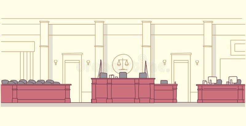 有木家具法官和秘书工作场所陪审团位子现代法院大楼内部正义的空的法庭 向量例证