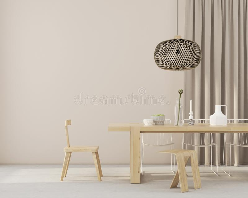 有木家具的Minimalistic餐厅 皇族释放例证