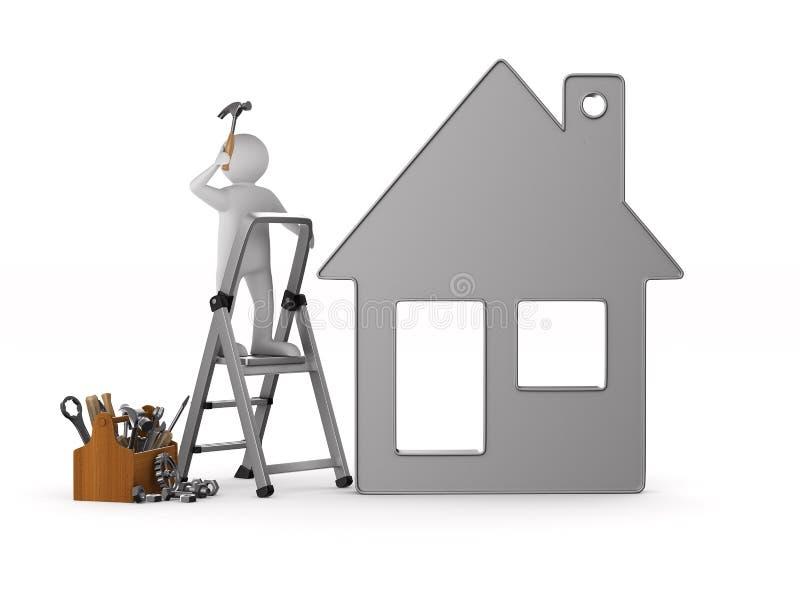 有木工具箱的安装工 被隔绝的3d例证 库存例证