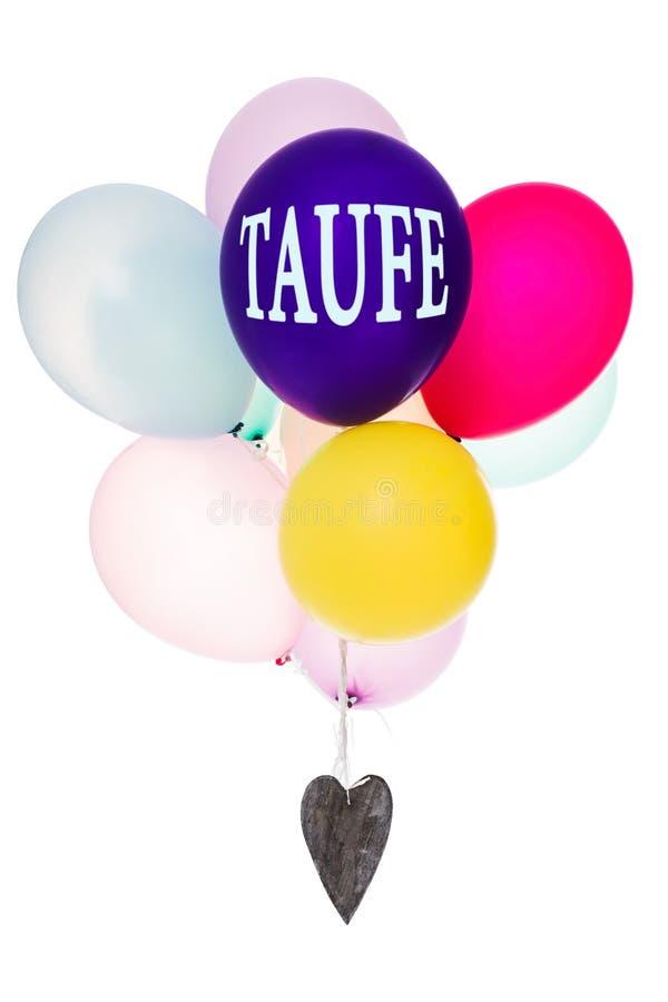 有木心脏的,概念洗礼仪式五颜六色的气球 免版税库存图片