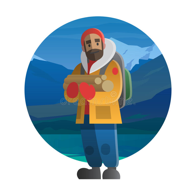 有木日志的远足者 迁徙,远足,上升,旅行 库存例证