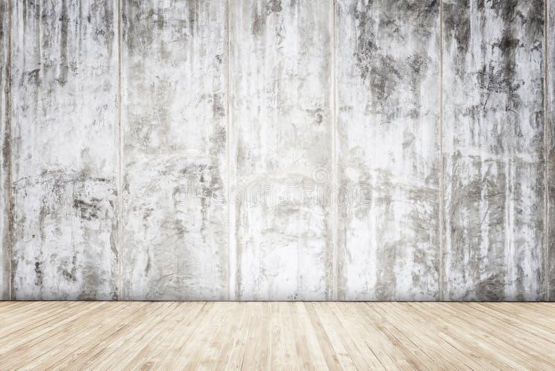 有木板条纹理和背景的灰色水泥墙壁 库存照片