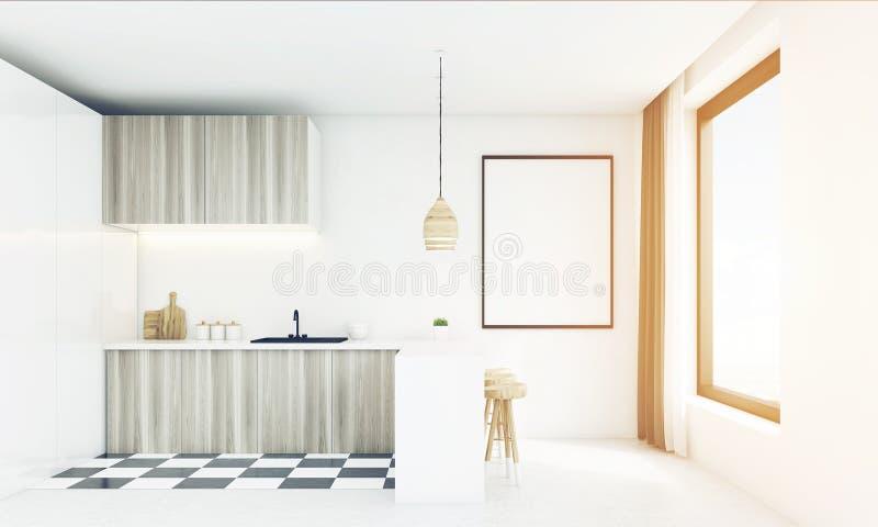 有木灯的现代白色厨房,被定调子 皇族释放例证