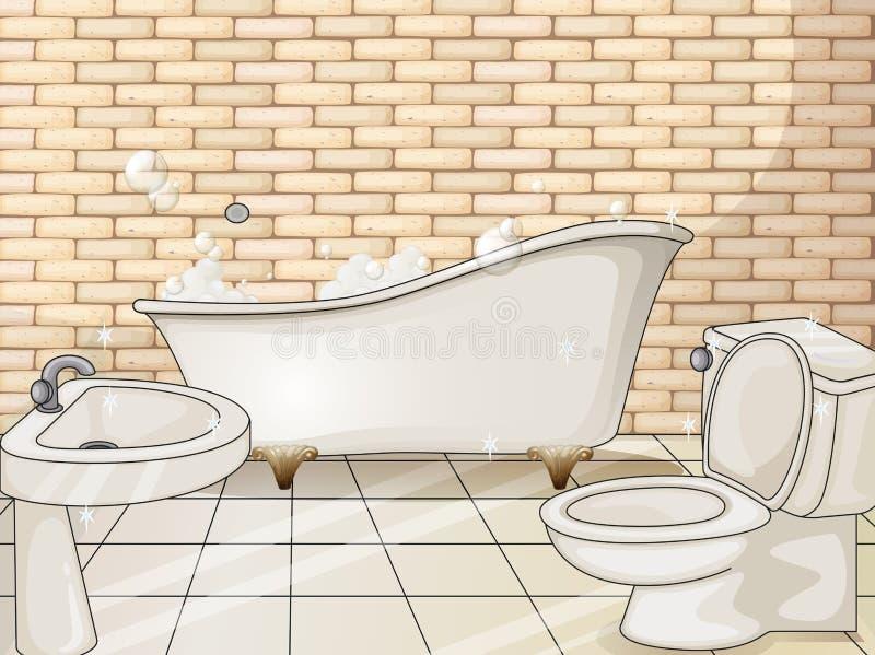 有木盆和洗手间的卫生间 皇族释放例证