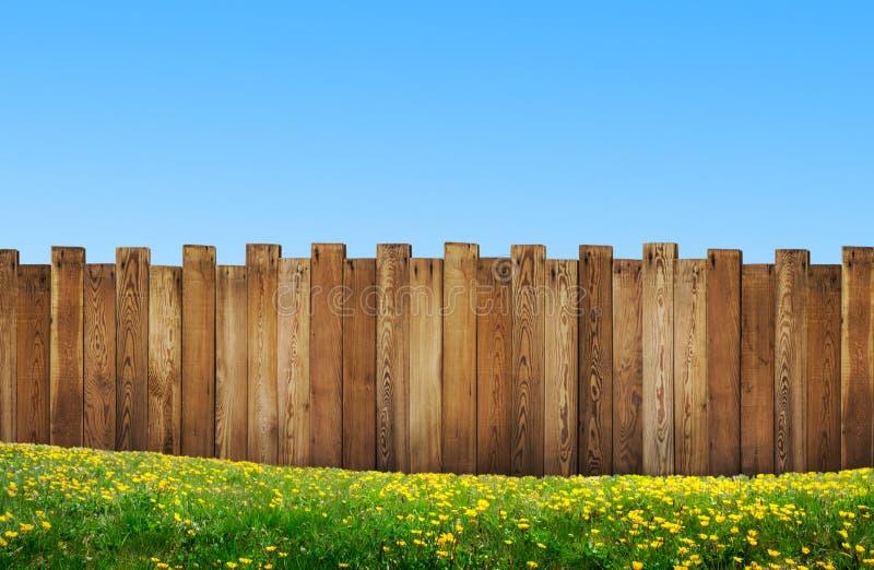 有木篱芭的美丽的后院 免版税库存图片