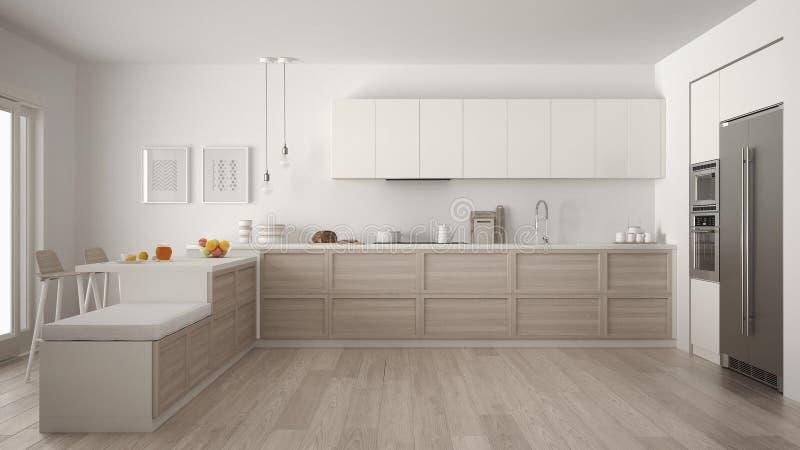 有木细节和镶花地板的, mi经典现代厨房 向量例证